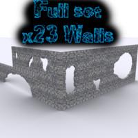 3d destroyed walls set model