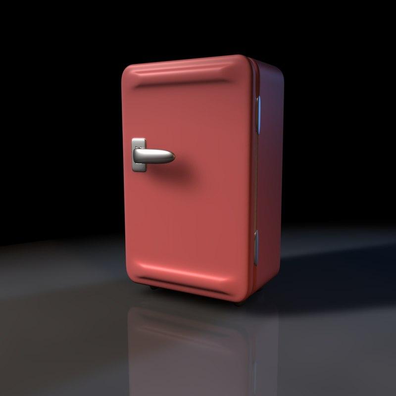 free vintage refrigerators retro 3d model