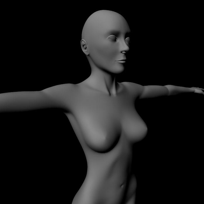 female woman girl 3d model