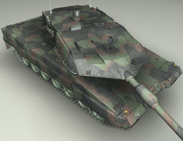 battle tank leopard2a6 3d obj