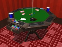 poker table with accessories