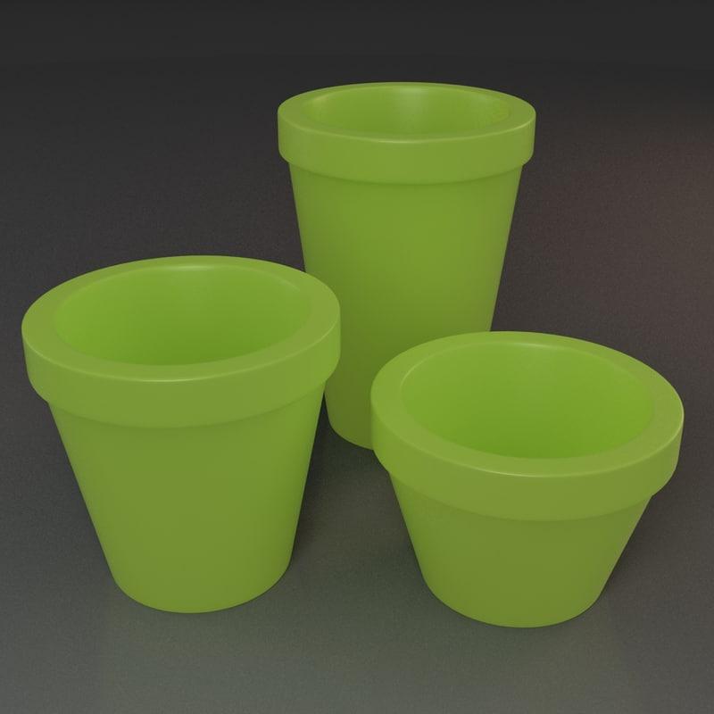 flowerpots pots 3d max