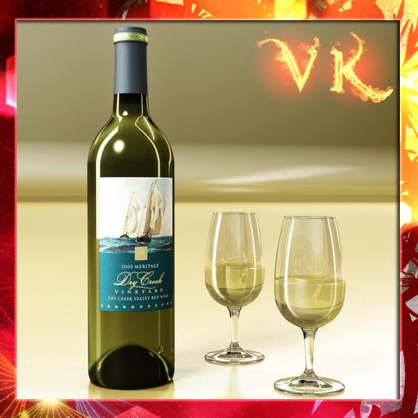 3d model white wine bottle cup