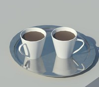 cups coffee tray 3d model