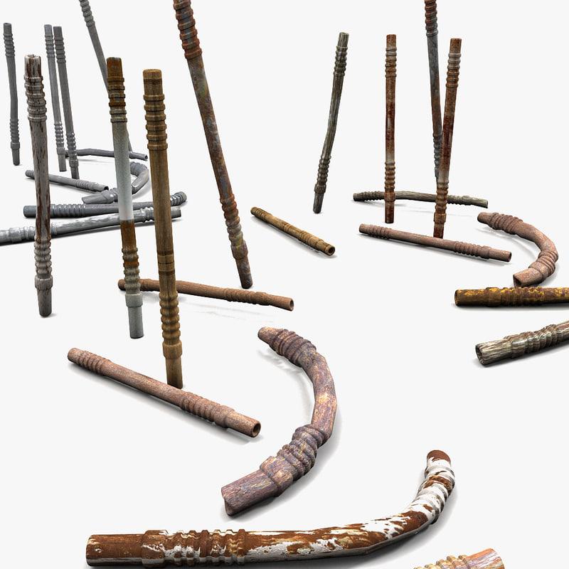 3d metal rod model