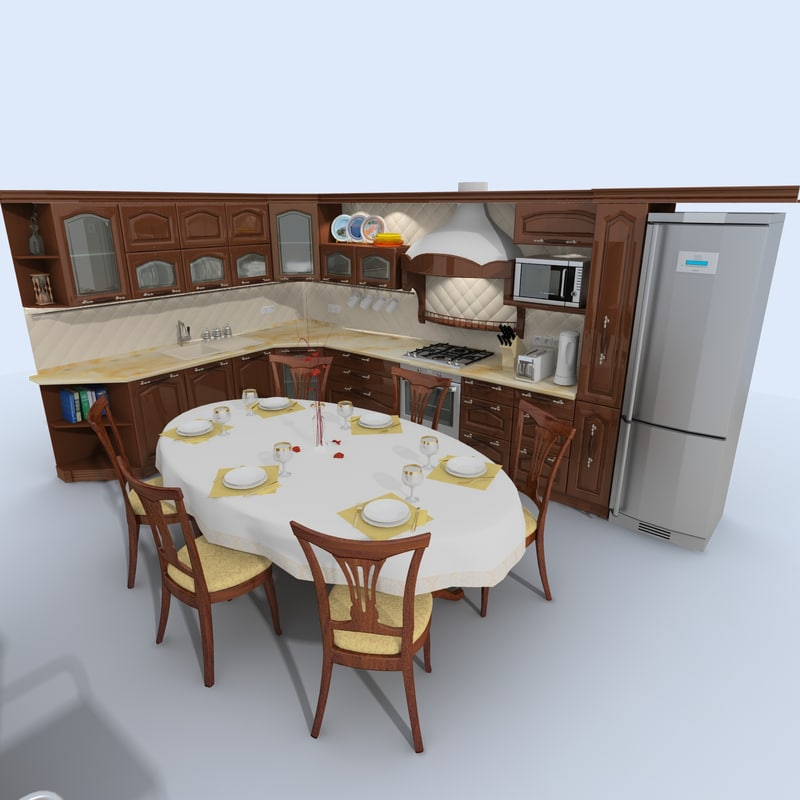 3d kitchen old fasioned