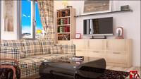 3d model room wood floor