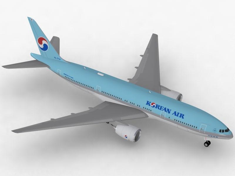 boeing 777-200 er korean 3d model