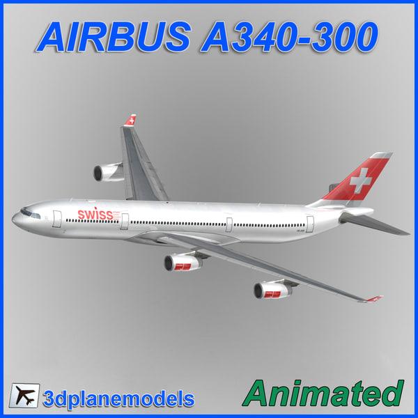 3d model airbus a340-300