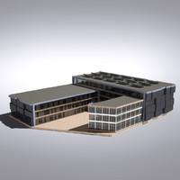modern generic building 3d 3ds
