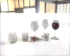 wines glasses obj