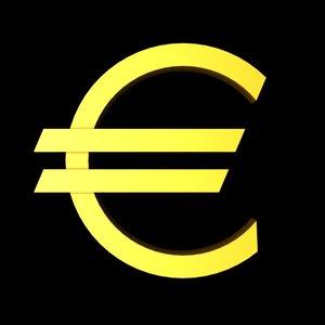 euro sign symbol 3d model