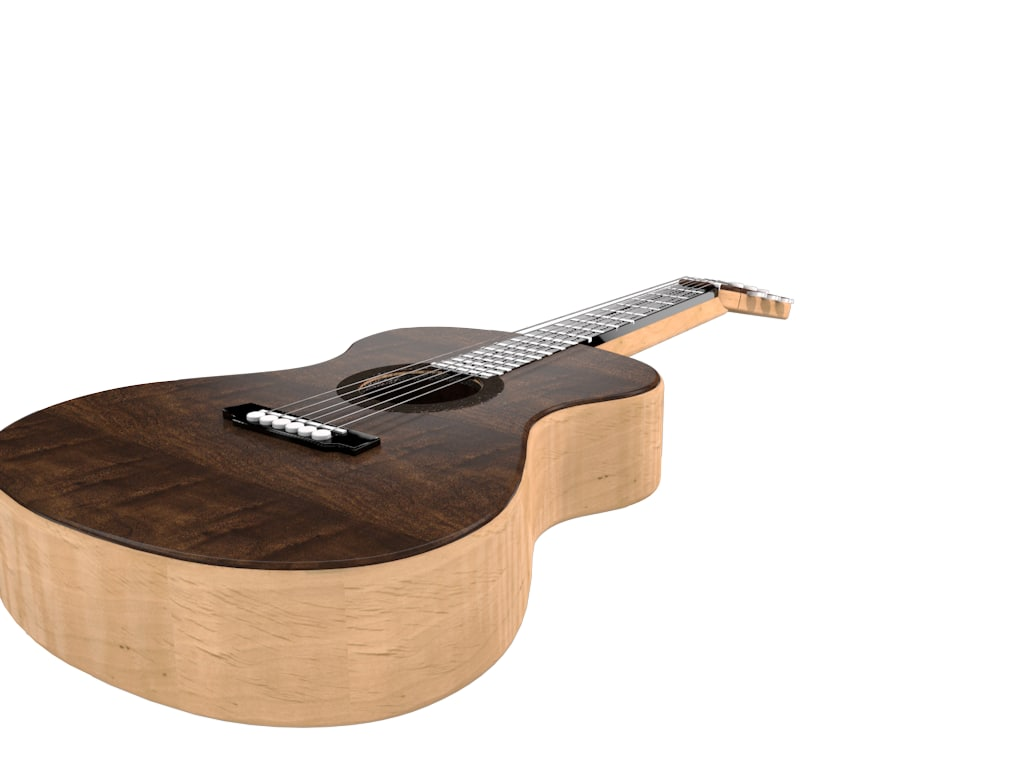 accoustic guitar 3d c4d
