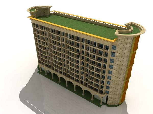 3d model of luxury hotel
