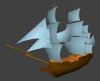historic ship 3d model