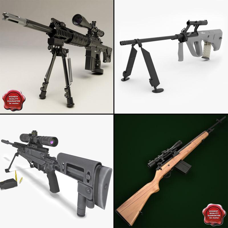sniper rifles 3d max