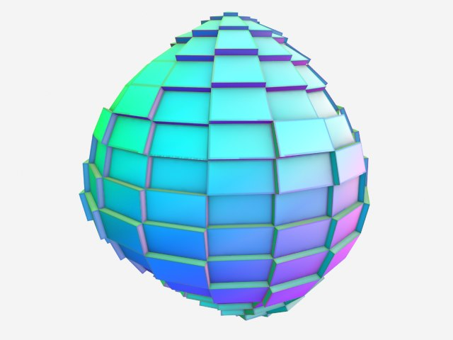 3d model low-poly greebled ball
