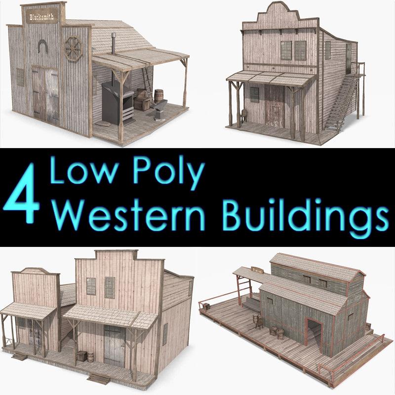 3d model western buildings