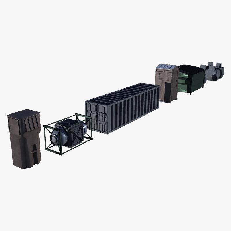 scifi crates 3d 3ds