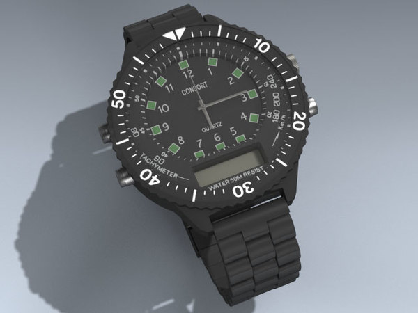 military men wristwatch 3ds