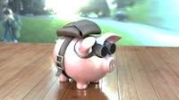 piggy bank parachute 3d fbx