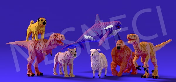 pixelated animal obj