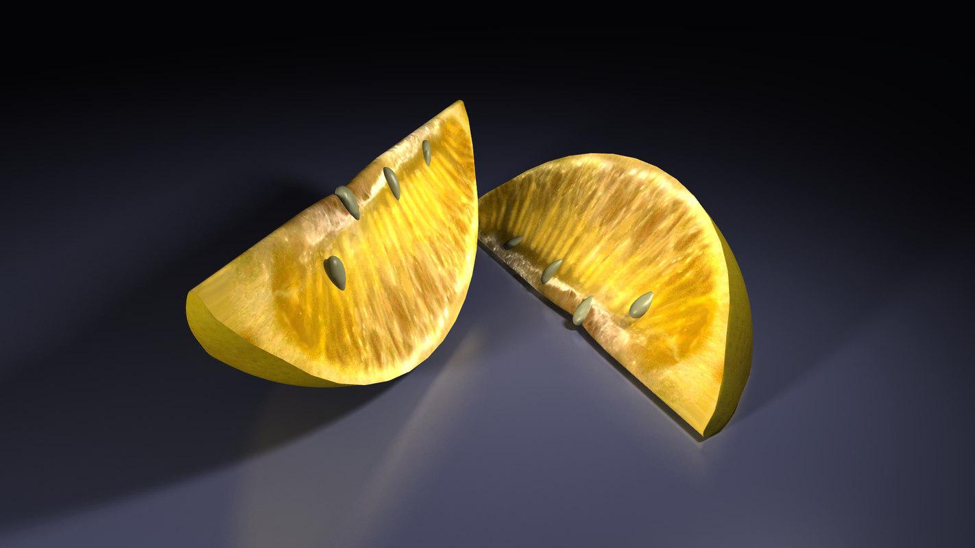 realistic lemon wedge 3d model