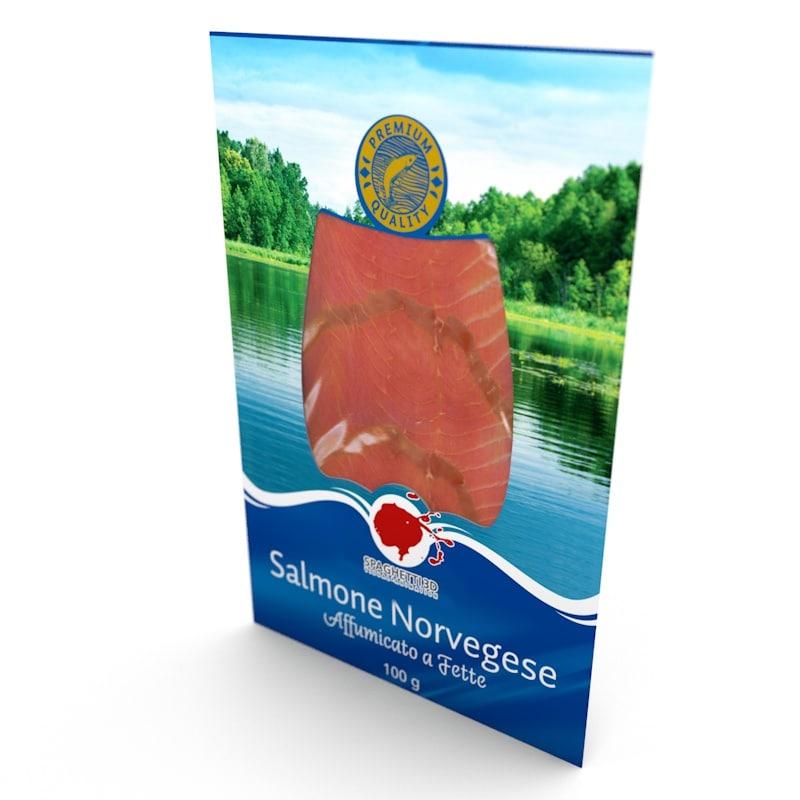 3d salmon slices pack model