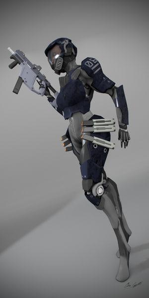 3d model cyborg infantry
