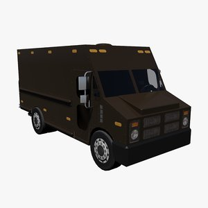 3d brown delivery truck