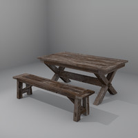 3ds rustic dining table bench