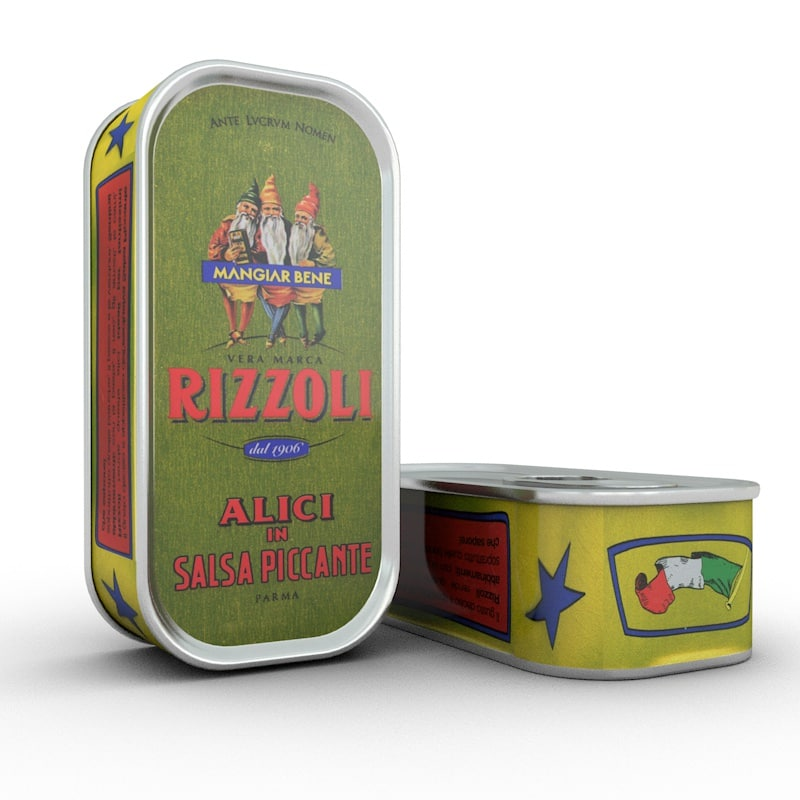 3d model canned anchovies