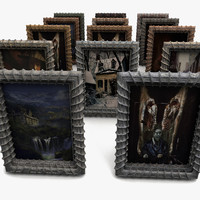 Creepy Painting Frame Decoration funureal prop detail low Big huge old dirty junk dirt mess metal box relief carved decor attic basement (2)