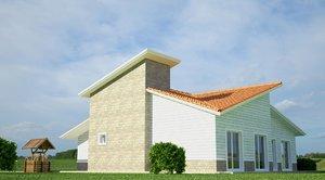 3d model village house design