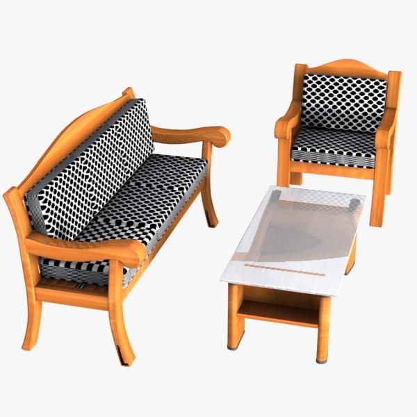 3d model wooden table sofa