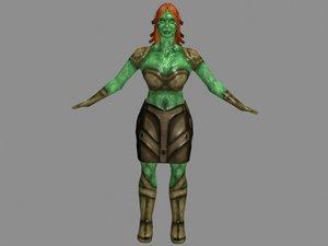 character reptilian girl games 3d model