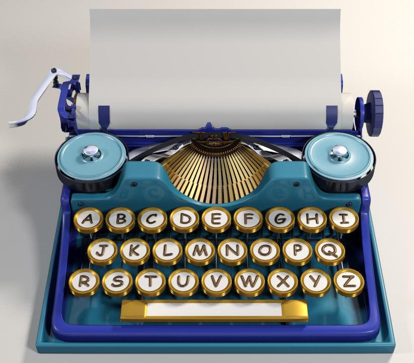 3d cartoon typewriter