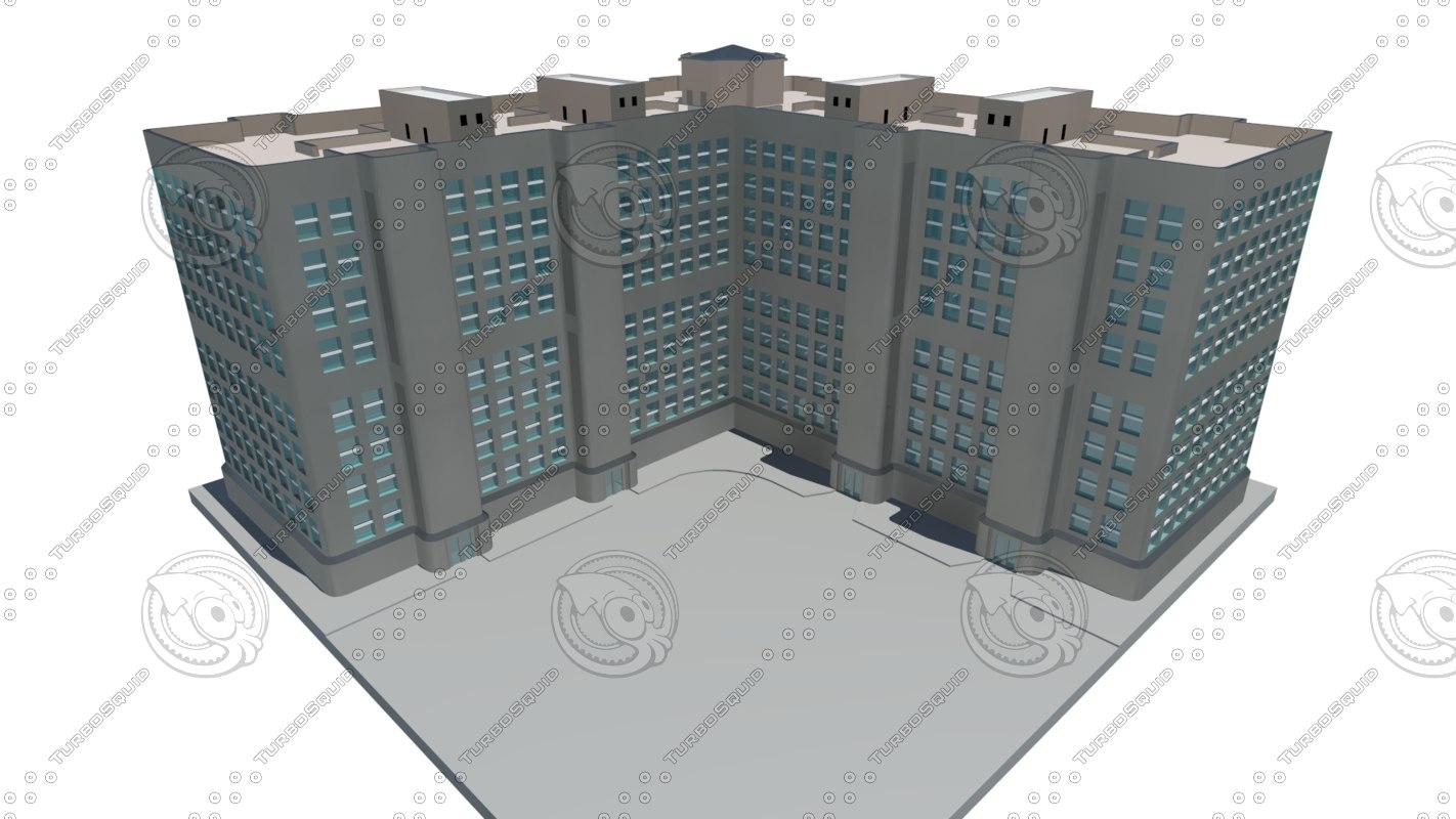 apartment building 8 floors 3ds