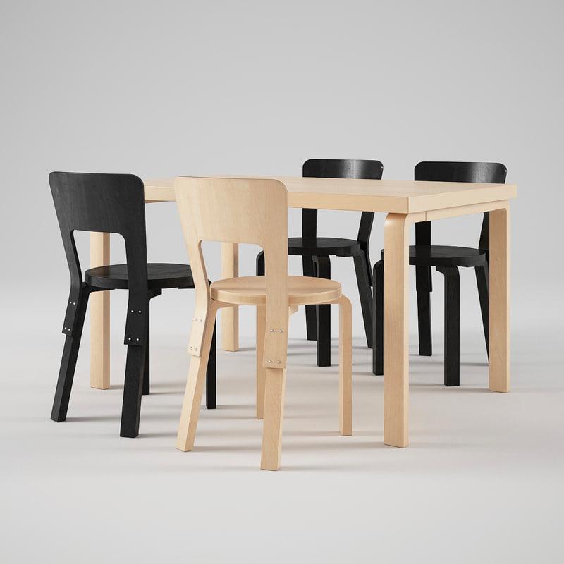 3d artek chair 66 table