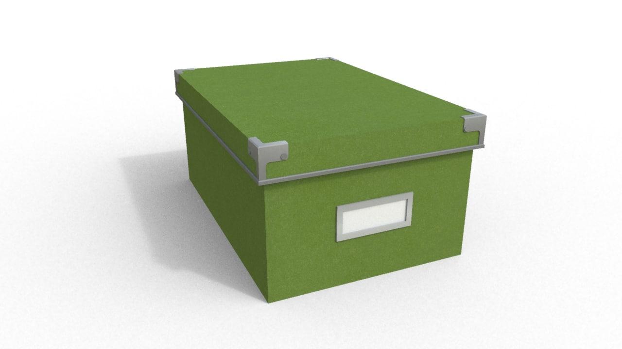 3d green cardboard box model