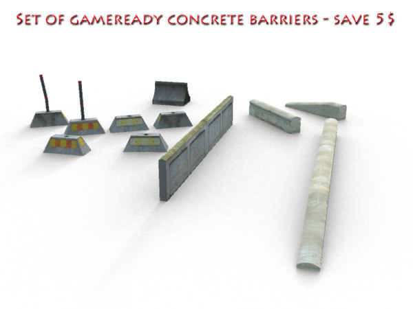 set concrete barriers 3d model