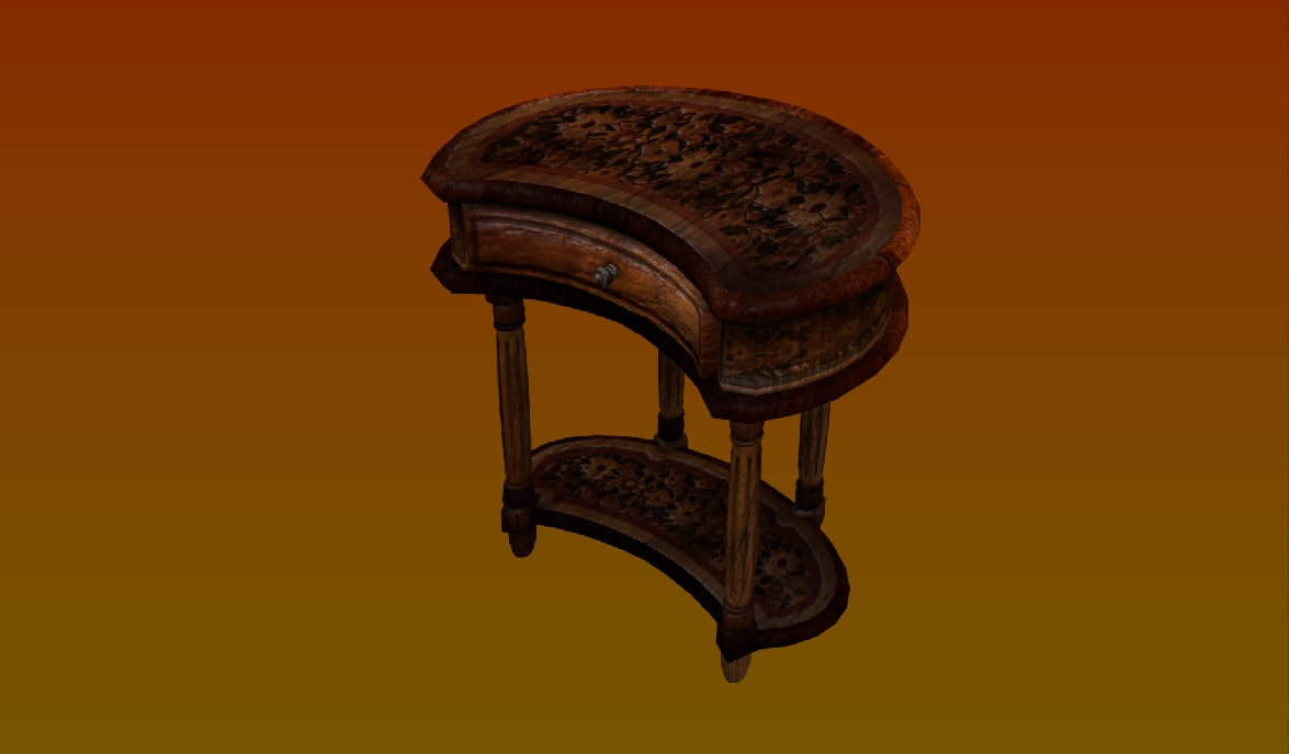 victorian bedside table 3d model