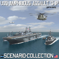USS Navy Amphibious Assault Ship Scenario and Collection
