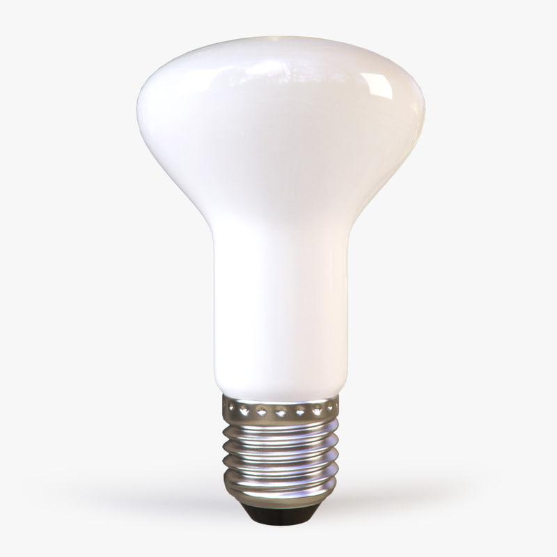 3d flattened white light bulb