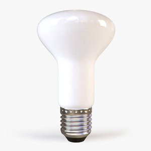 3d flattened white light bulb