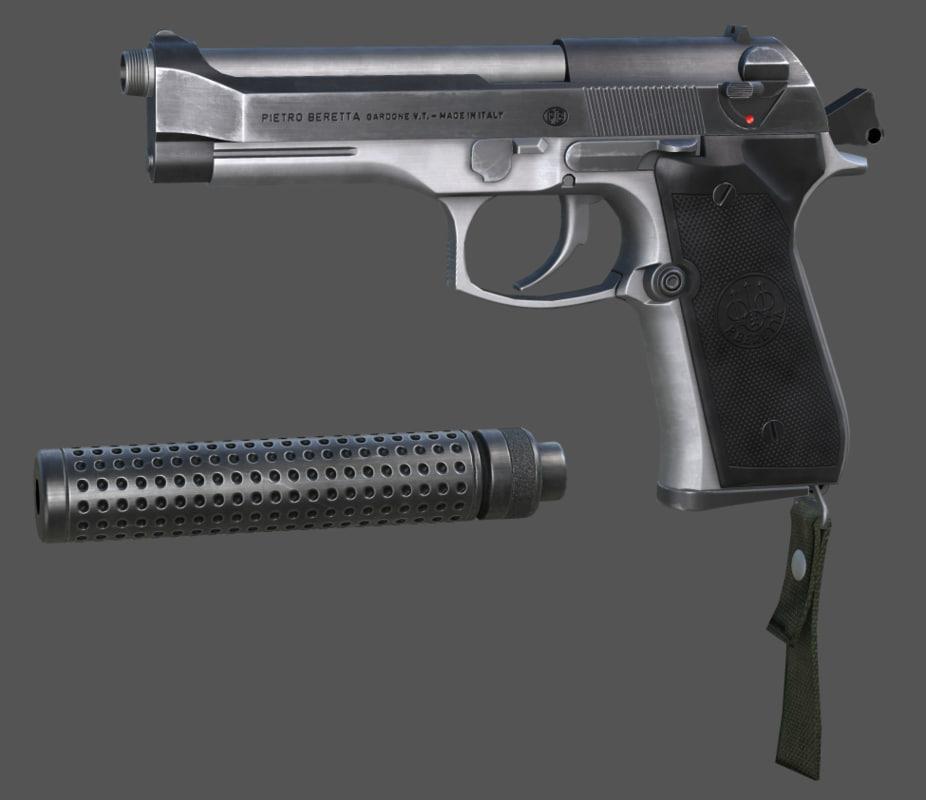 m9 pistol beretta 3d max