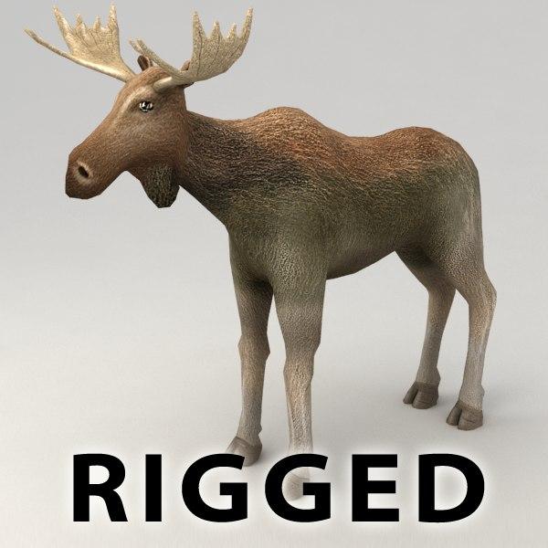 rigged moose 3d model