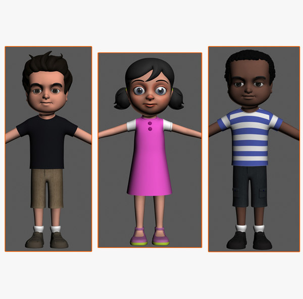 cartoony kids characters boys max