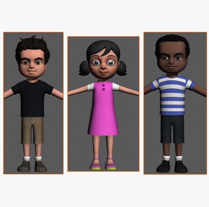 cartoony kids characters boys max