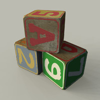 old worn toy wooden 3d max
